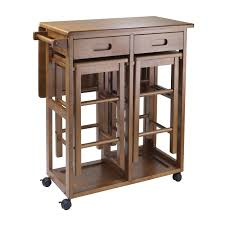 narrow wooden kitchen island cart table with single leaf insert