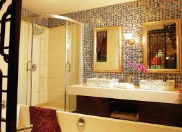 bathroom with mosaic tiles ideas luxurious bathroom nuanced in gold enligtened by modern wall l