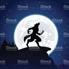 halloween moon background werewolf on moon background stock vector art 488058778 istock