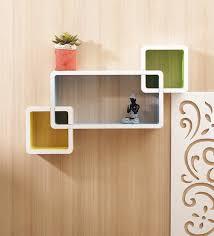 wall shelves pepperfry buy aapno rajasthan multicolour mdf box shape wall shelves online