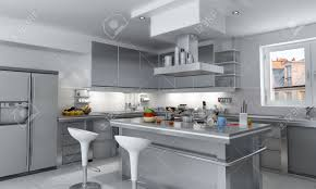 3d rendering of a modern industrial kitchen with island stock 3d rendering of a modern industrial kitchen with island stock photo 6768474