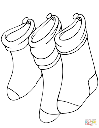 hanging christmas stockings coloring page free printable