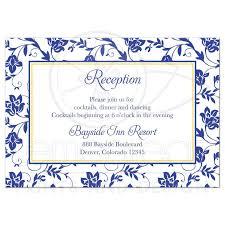 reception card wedding reception card sunflower royal blue damask