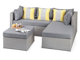 Calabria Outdoor Grey Rattan Sofa Set Garden Furniture With Footstool - Rattan outdoor sofas