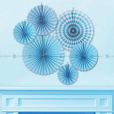 party fans blue paper fan rosettes backdrop paper pinwheel garland party fans