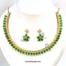 green stones necklace images Ad cz necklace green stones elegant short set buy online hayagi jpg