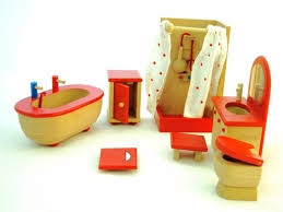 Dolls House Bathroom Furniture Order Wooden Dolls House Bathroom Furniture 7 Pieces