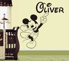 online get cheap mickey mouse wall art stickers aliexpress com mickey mouse personalised name wall art sticker decoration decals wall stickers for kid s rooms bedroom products