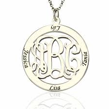 monogram sterling silver necklace personalized family monogram name necklace sterling silver