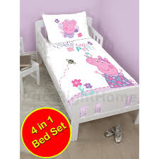 peppa pig kids bedding home decor price right home peppa pig happy 4 in 1 junior bedding bundle set duvet pillow and covers