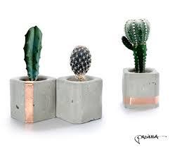 geometric concrete copper cups set of 3 small cube concrete