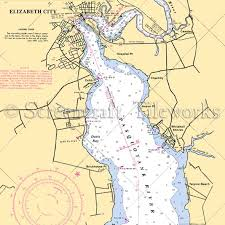 carolina elizabeth city pasquotank river nautical chart decor