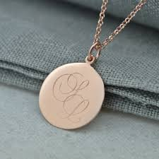 Monogram Disc Necklace Monogrammed Rose Gold Disc Necklace Lily Charmed