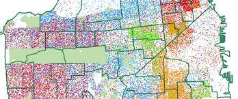 map of usa states san francisco racial dot map a dot map of ages 5 17 race in san francisco