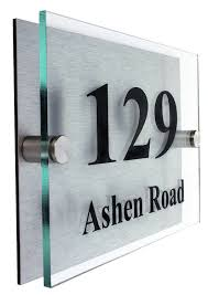 premier quality glass look acrylic personalised house number sign