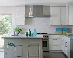 simple kitchen backsplash glass tile white cabinets subway modern