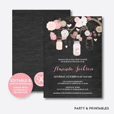 instant download baby shower invitations floral mason jar pink chalkboard baby shower invitation editable