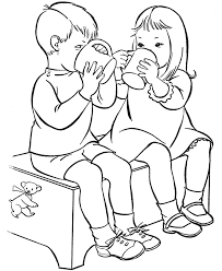 drinking water alone children coloring pages for kids iy