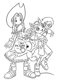 mimi and joe from digimon anime coloring pages for kids printable