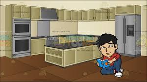 modern asian kitchen an asian guy reading a book at a modern kitchen cartoon clipart