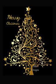 Black And Gold Christmas Tree Decorations Digital Christmas Card Printable Digit Design Bundles