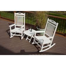 White Rocking Chair Outdoor by Trex Outdoor Furniture Yacht Club Classic White 3 Piece Patio
