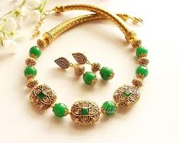 gold tone necklace set images Ethnic green necklace set antique gold tone necklace set at jpg