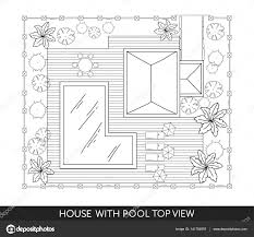 landscape plan of the house with swimming pool furniture and