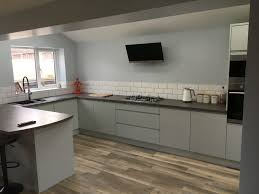 light grey acrylic kitchen cabinets handleless high gloss kitchen in light grey newbold