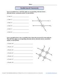 parallel lines u0026 transversals 8th grade geometry worksheets