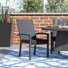 Patio Dining Chairs With Cushions Brayden Studio Kinley Stacking Patio Dining Chair With Cushion