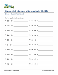 grade 4 mental division worksheets free u0026 printable k5 learning
