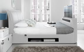 Tv Storage Bed Frame Maximus White Leather Multi Media King Size Tv Bed With 40