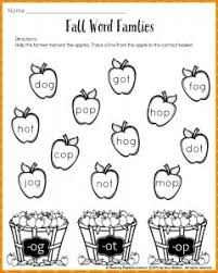 fall word families worksheets for kindergarten or 1st grade