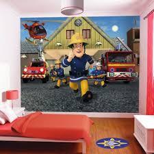 chambre garcon pompier papier peint enfant sam le pompier walltastic achat vente