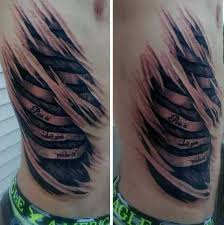 10 torn ripped skin tattoos on for side rib