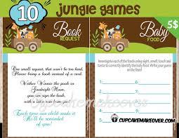 jungle animals baby shower games u2013 instant download cupcakemakeover