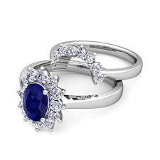 Sapphire Wedding Rings by Diamond And Sapphire Diana Engagement Ring Bridal Set 14k Gold 8x6mm