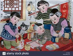 children write to the army 1949 zhang ding woodblock print color