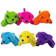 plush neon dogs 1 dozen bulk assorted colors