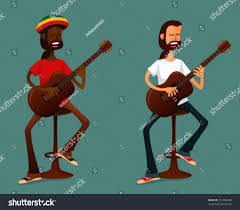 Guitar Bar Stool Cartoon Illustration Two Very Cool Guys Stock Vector 151706090