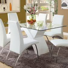 Dining Room Tables White by Shop Furniture Of America Wailoa Tempered Glass Dining Table At