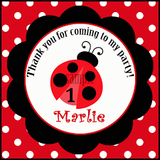 ladybug favor tags printable or printed with free shipping