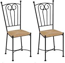 chaises en fer forgé meublepro lot 2 chaises fer forgé assise seigle amazon fr