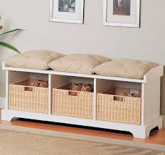 White Storage Bench Coaster White Storage Bench With Baskets 501054