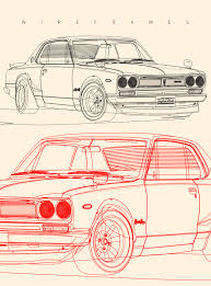 nissan skyline drawing nissan skyline gt r hakosuka high detailed illustration on pantone