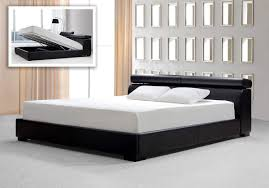 Modern King Size Bed With Storage Bedroom Black Leather Platform Bed With Storage And Headboard
