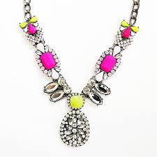 pink crystal pendant necklace images Neon drop necklace statement pendant necklace with rhinestones jpg