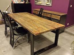 cuisine bois et fer table a manger carree bois unique table salle a manger bois et fer