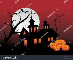 halloween haunted house flyer background night scene full moon haunted house stock vector 17329414